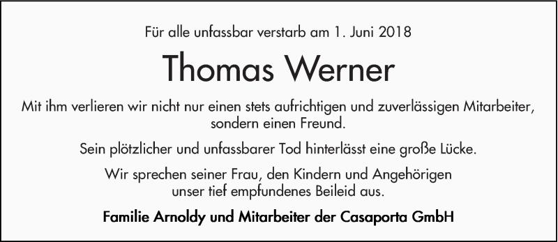 Traueranzeige für Thomas Werner vom 09.06.2018 aus trierischer_volksfreund