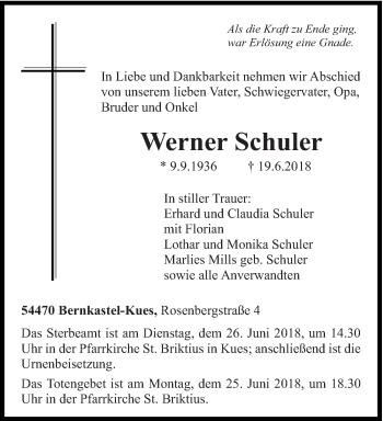 Traueranzeige von Werner Schuler von trierischer_volksfreund
