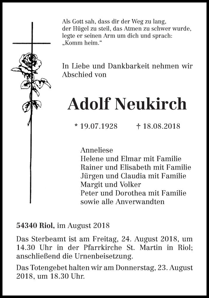 Traueranzeige für Adolf Neukirch vom 22.08.2018 aus trierischer_volksfreund