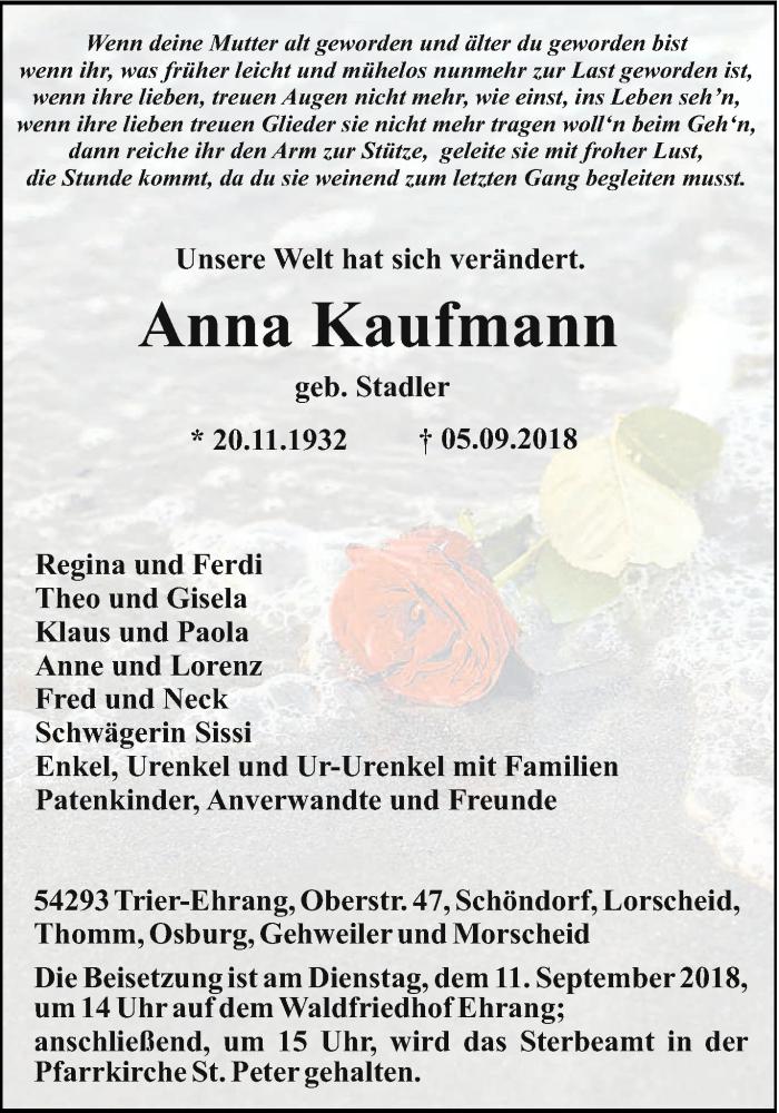 Traueranzeige für Anna Kaufmann vom 08.09.2018 aus trierischer_volksfreund