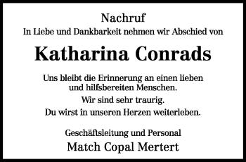 Traueranzeige für Katharina Conrads vom 12.09.2018 aus trierischer_volksfreund