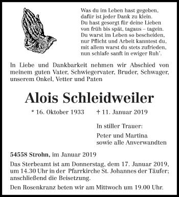 Traueranzeige für Alois Schleidweiler vom 12.01.2019 aus trierischer_volksfreund