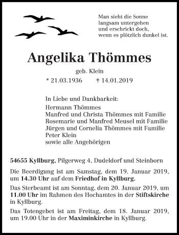 Traueranzeige für Angelika Thömmes vom 17.01.2019 aus trierischer_volksfreund