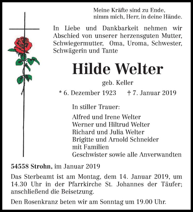 Traueranzeige für Hilde Welter vom 09.01.2019 aus trierischer_volksfreund