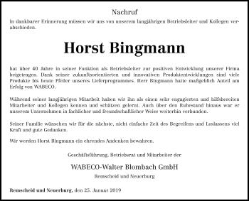 Traueranzeige für Horst Bingmann vom 25.01.2019 aus trierischer_volksfreund