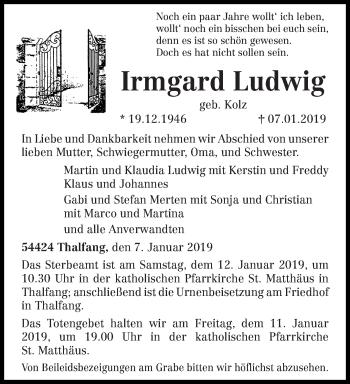 Traueranzeige für Irmgard Ludwig vom 09.01.2019 aus trierischer_volksfreund