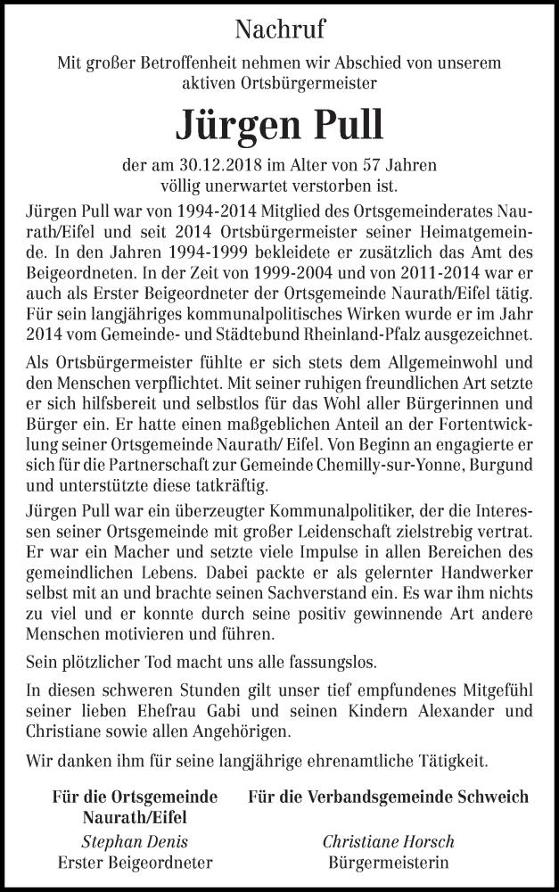 Traueranzeige für Jürgen Pull vom 11.01.2019 aus trierischer_volksfreund