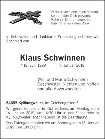 Traueranzeige für Klaus Schwinnen vom 10.01.2019 aus trierischer_volksfreund
