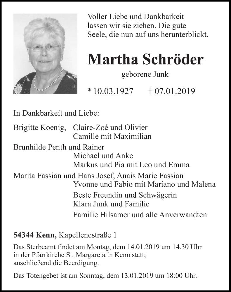 Traueranzeige für Martha Schröder vom 11.01.2019 aus trierischer_volksfreund