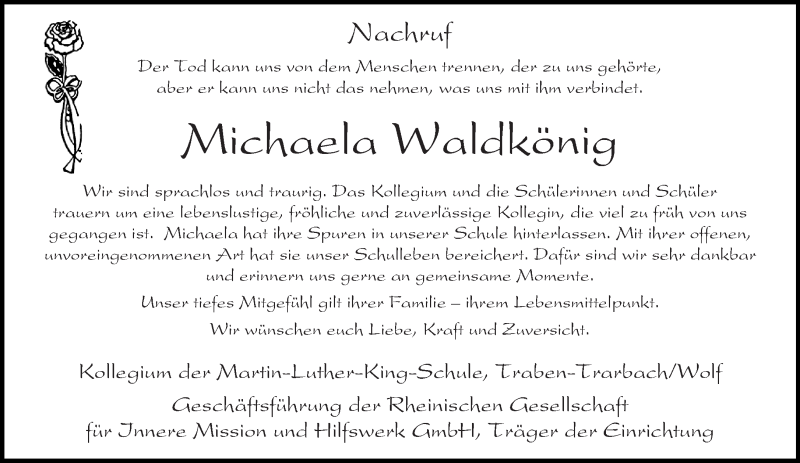 Anzeige von  Michaela Waldkönig
