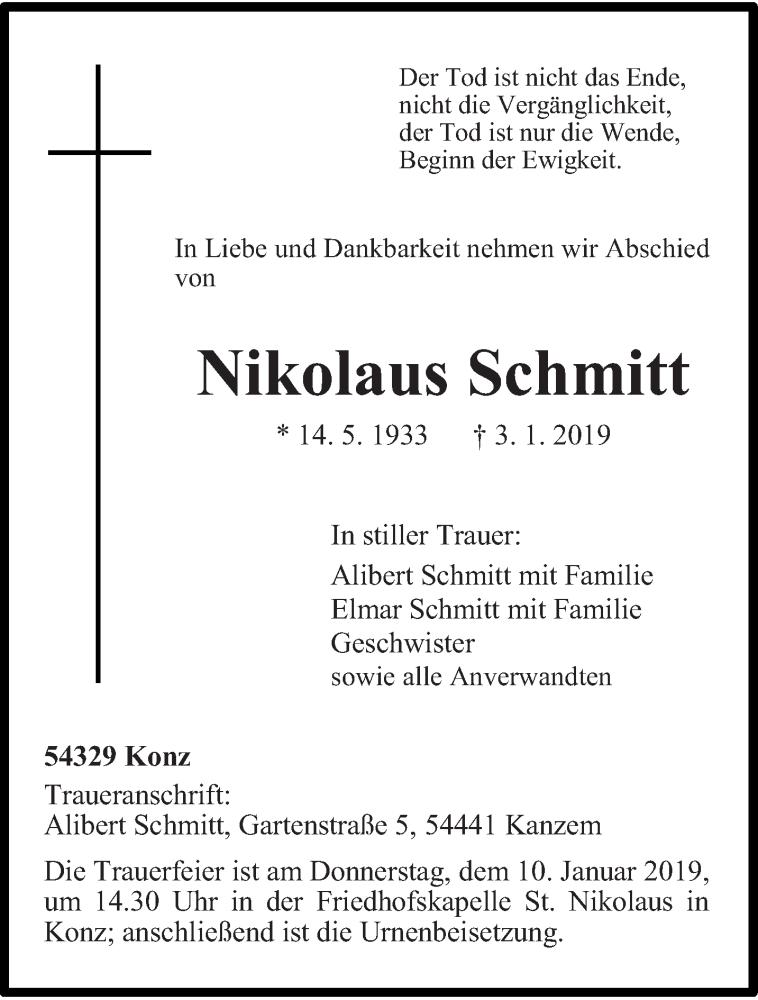 Anzeige von  Nikolaus Schmitt