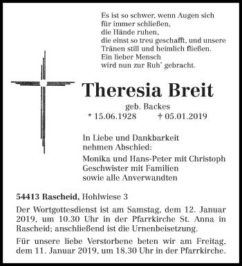 Traueranzeige für Theresia Breit vom 09.01.2019 aus trierischer_volksfreund