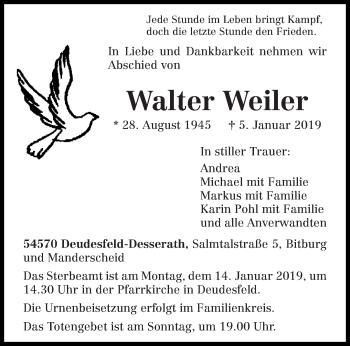 Traueranzeige für Walter Weiler vom 09.01.2019 aus trierischer_volksfreund