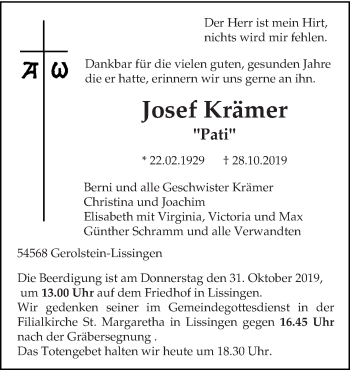 Traueranzeige von Josef Krämer von trierischer_volksfreund