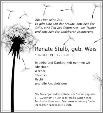 Traueranzeige von Renate Stülb von trierischer_volksfreund
