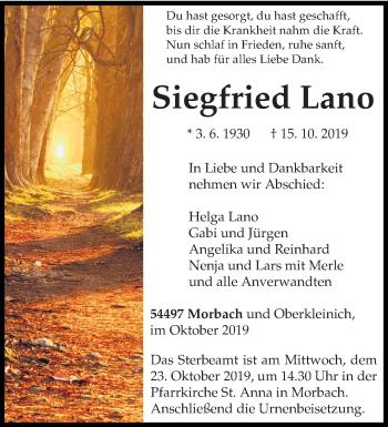 Traueranzeige von Siegfried Lano von trierischer_volksfreund