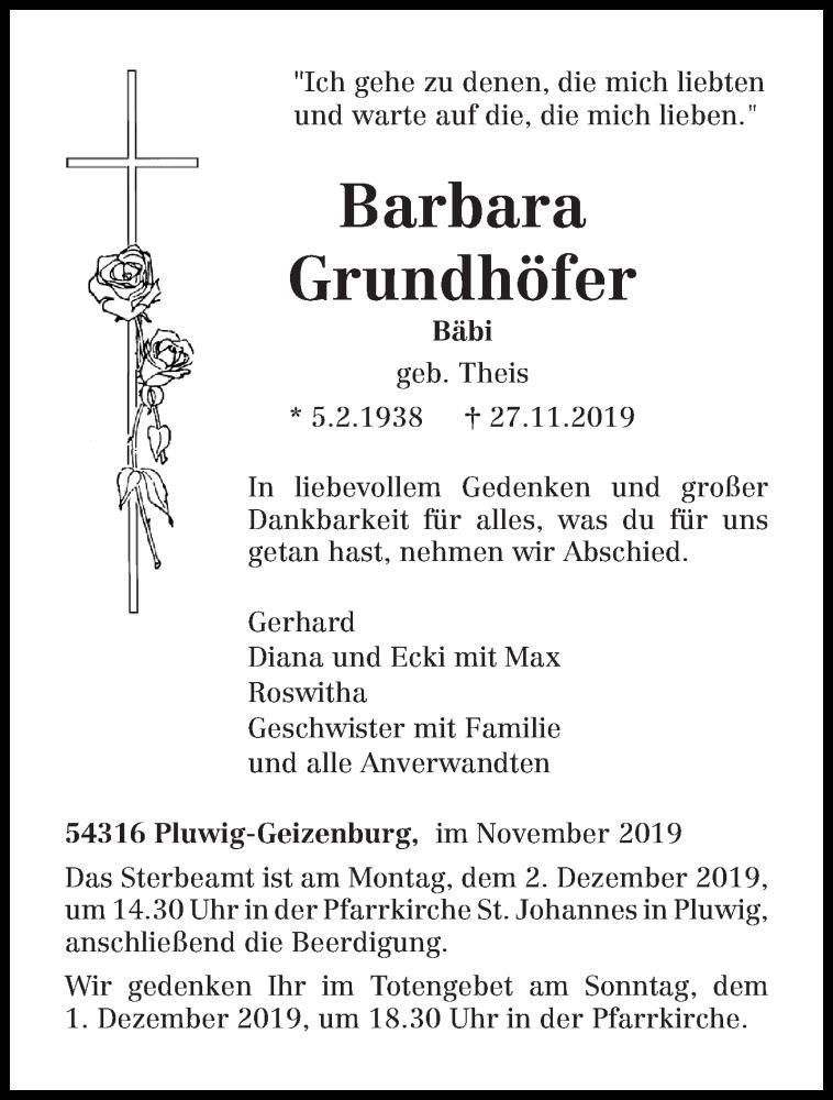 Traueranzeige für Barbara Grundhöfer vom 29.11.2019 aus trierischer_volksfreund