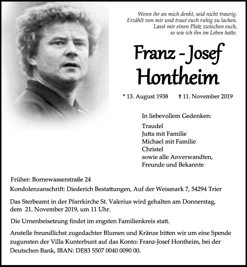 Traueranzeige für Franz-Josef Hontheim vom 16.11.2019 aus trierischer_volksfreund