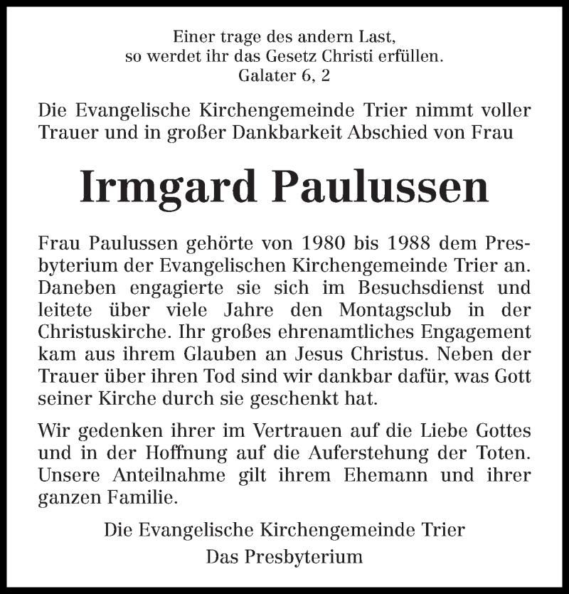 Traueranzeige für Irmgard Paulussen vom 08.11.2019 aus trierischer_volksfreund
