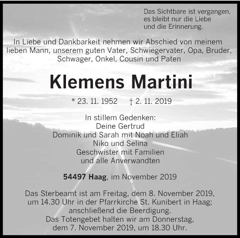 Traueranzeige für Klemens Martini vom 06.11.2019 aus trierischer_volksfreund