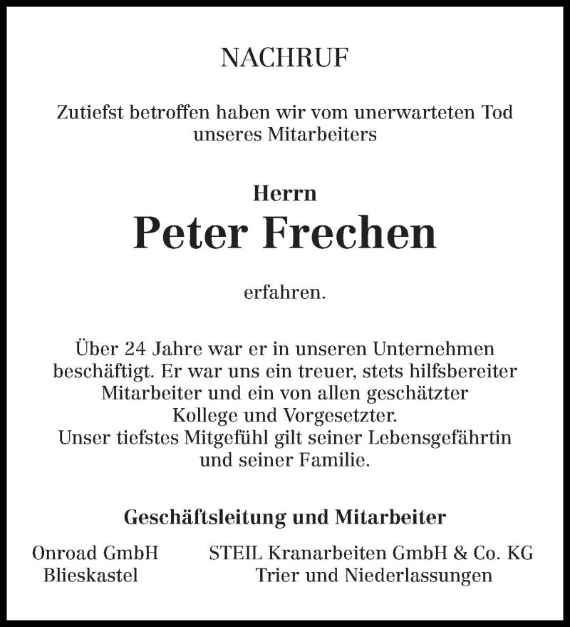 Traueranzeige für Peter Frechen vom 27.11.2019 aus trierischer_volksfreund