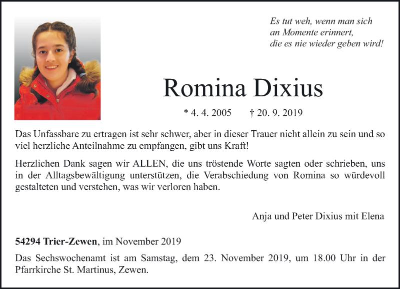 Traueranzeige für Romina Dixius vom 16.11.2019 aus trierischer_volksfreund