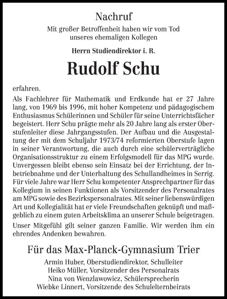 Traueranzeige für Rudolf Schu vom 09.11.2019 aus trierischer_volksfreund