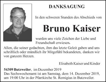 Traueranzeige von Bruno Kaiser von trierischer_volksfreund