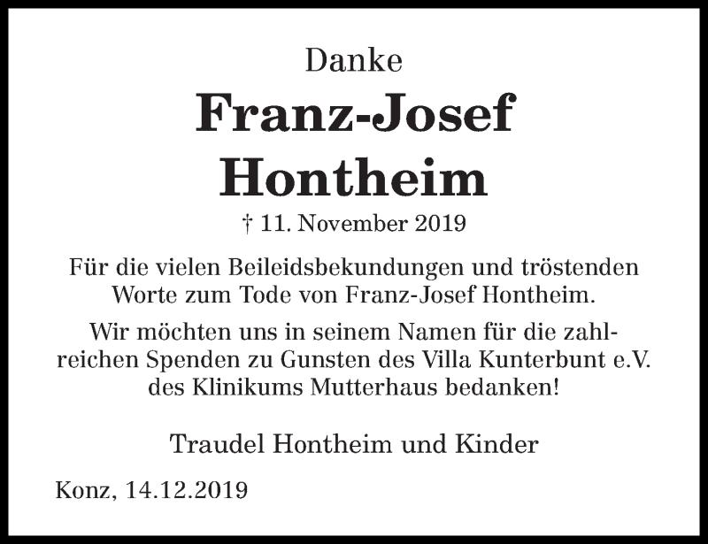 Traueranzeige für Franz-Josef Hontheim vom 14.12.2019 aus trierischer_volksfreund