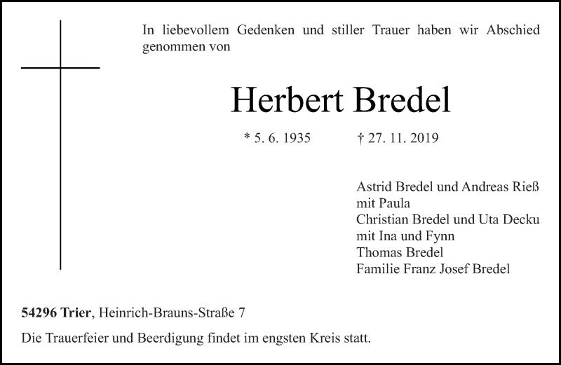 Traueranzeige für Herbert Bredel vom 30.11.2019 aus trierischer_volksfreund