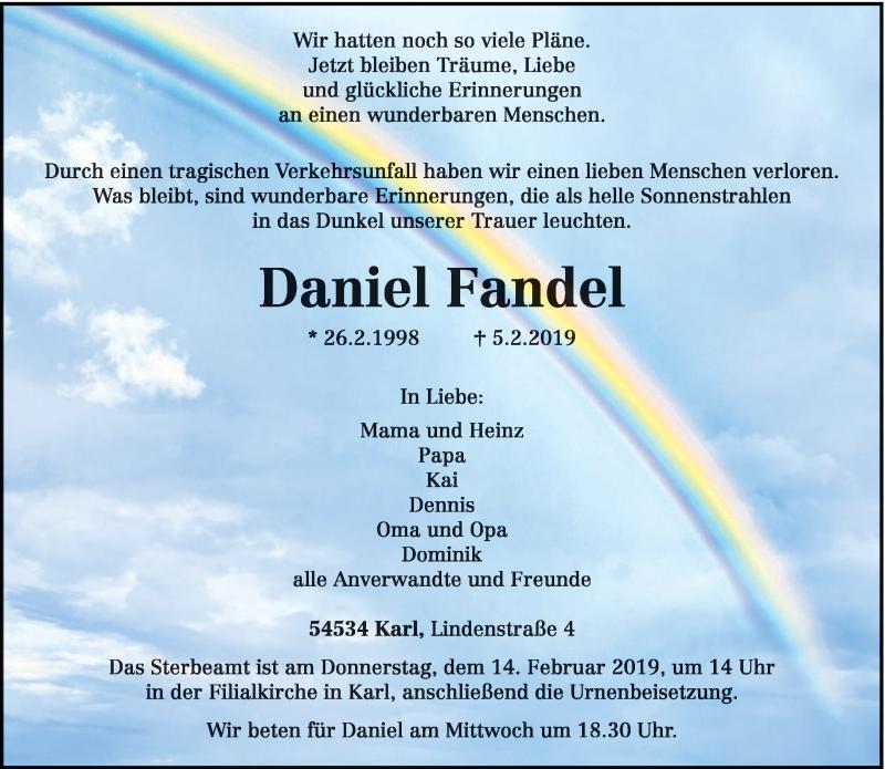 Traueranzeige für Daniel Fandel vom 09.02.2019 aus trierischer_volksfreund