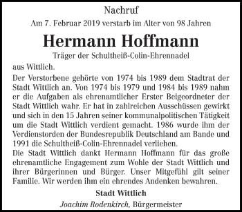 Traueranzeige für Hermann Hoffmann vom 13.02.2019 aus trierischer_volksfreund