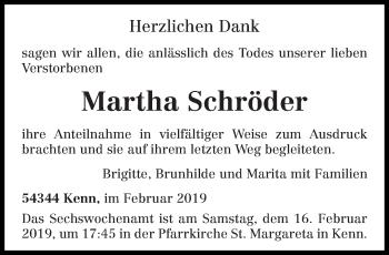 Traueranzeige für Martha Schröder vom 16.02.2019 aus trierischer_volksfreund