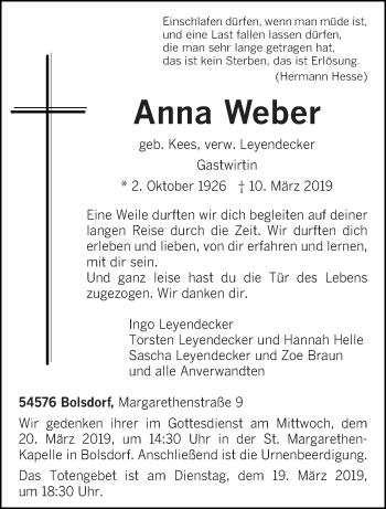 Traueranzeige für Anna Weber vom 13.03.2019 aus trierischer_volksfreund