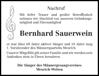 Traueranzeige für Bernhard Sauerwein vom 13.03.2019 aus trierischer_volksfreund