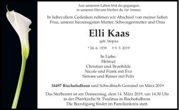 Traueranzeige für Elli Kaas vom 13.03.2019 aus trierischer_volksfreund