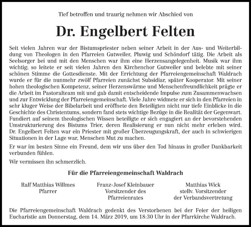 Traueranzeige für Engelbert Felten vom 09.03.2019 aus trierischer_volksfreund