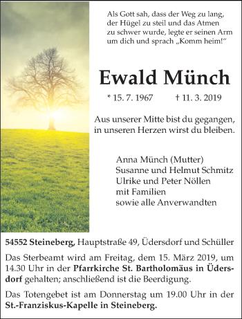 Traueranzeige für Ewald Münch vom 13.03.2019 aus trierischer_volksfreund