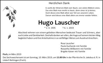 Traueranzeige für Hugo Lauscher vom 02.03.2019 aus trierischer_volksfreund