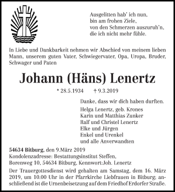 Traueranzeige für Johann Lenertz vom 13.03.2019 aus trierischer_volksfreund