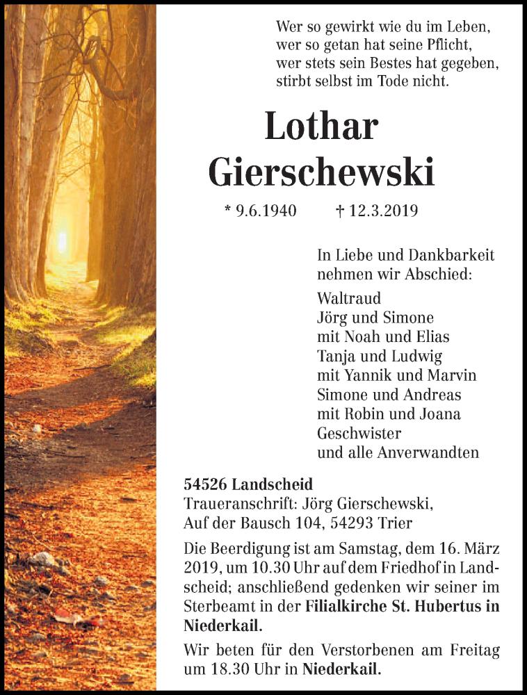 Traueranzeige für Lothar Gierschewski vom 14.03.2019 aus trierischer_volksfreund