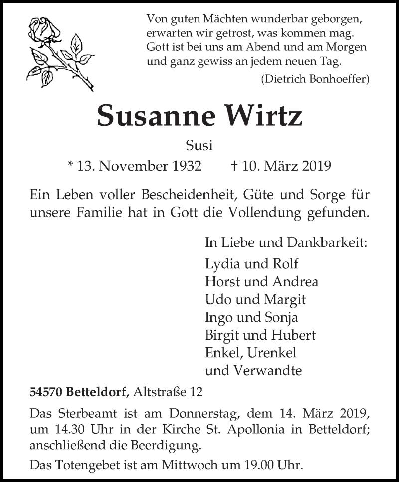 Traueranzeige für Susanne Wirtz vom 12.03.2019 aus trierischer_volksfreund