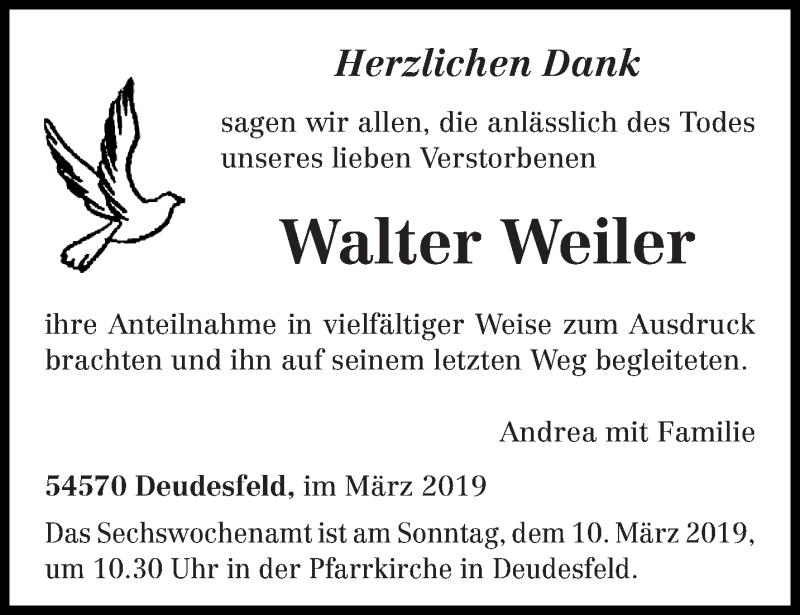 Traueranzeige für Walter Weiler vom 06.03.2019 aus trierischer_volksfreund