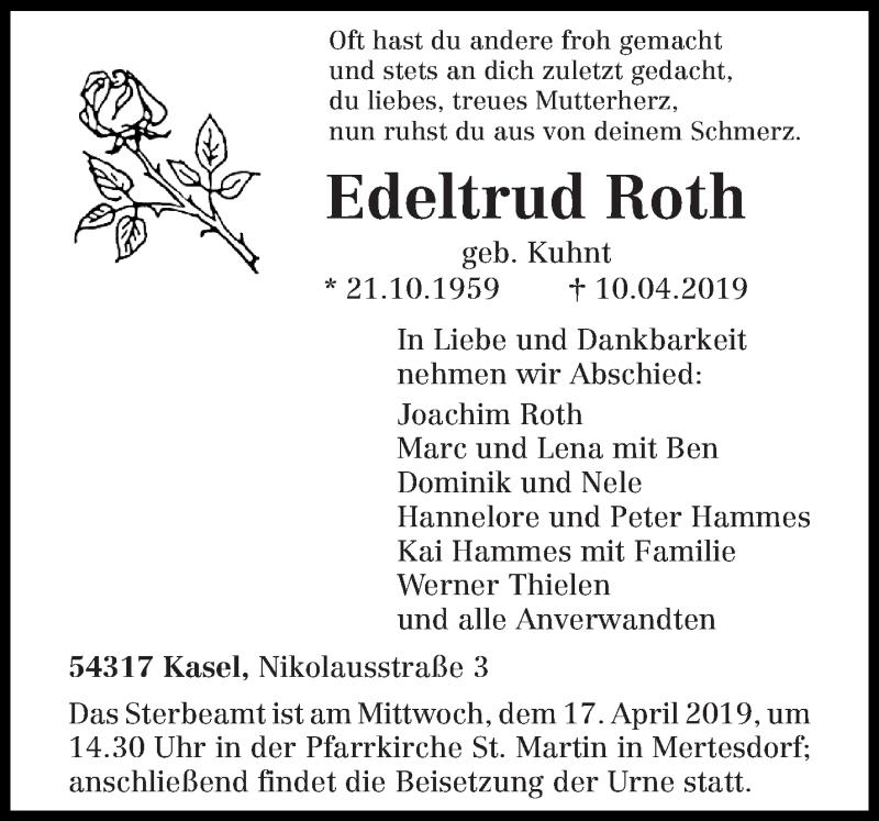 Traueranzeige für Edeltrud Roth vom 13.04.2019 aus trierischer_volksfreund