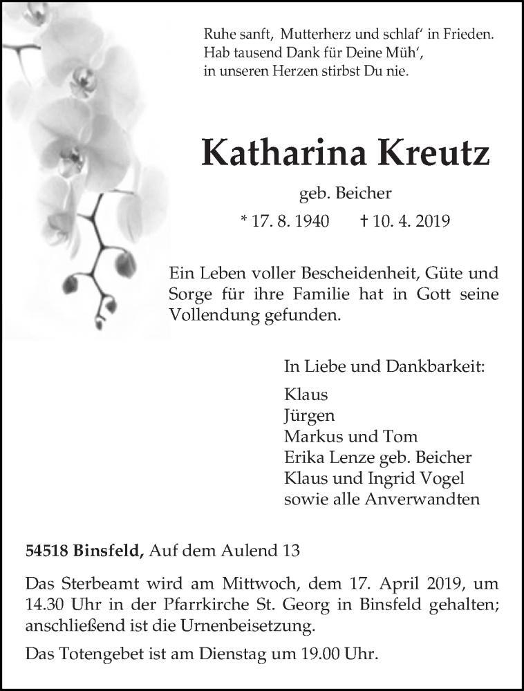 Traueranzeige für Katharina Kreutz vom 13.04.2019 aus trierischer_volksfreund