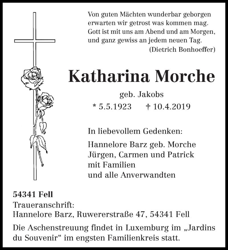 Traueranzeige für Katharina Morche vom 13.04.2019 aus trierischer_volksfreund