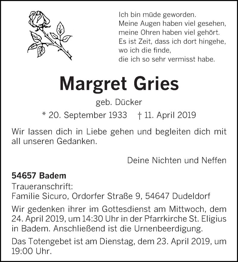Traueranzeige für Margret Gries vom 13.04.2019 aus trierischer_volksfreund