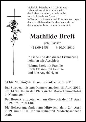 Traueranzeige für Mathilde Breit vom 13.04.2019 aus trierischer_volksfreund