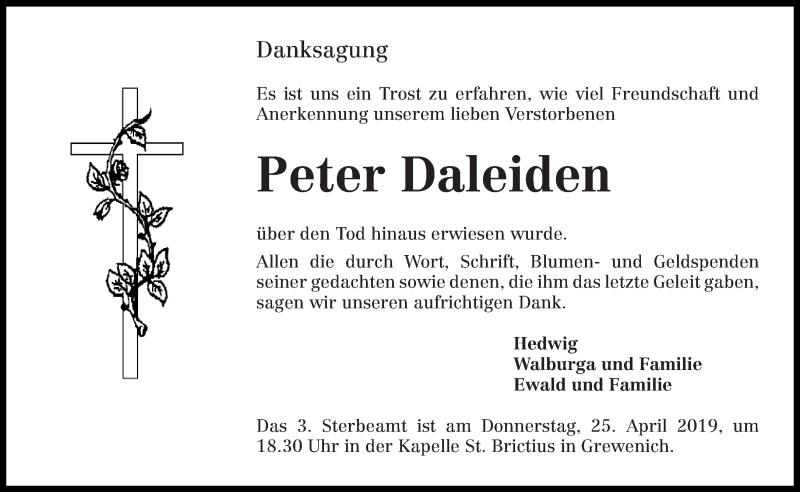Traueranzeige für Peter Daleiden vom 20.04.2019 aus trierischer_volksfreund