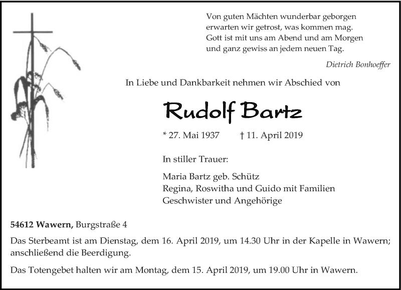 Traueranzeige für Rudolf Bartz vom 13.04.2019 aus trierischer_volksfreund